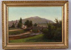 Bertha Cummings American 19th Century View of Mt Monadnock from a Farmstead
