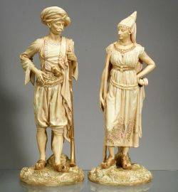 Pair of Royal Worcester Porcelain Bringaree Indian Figures