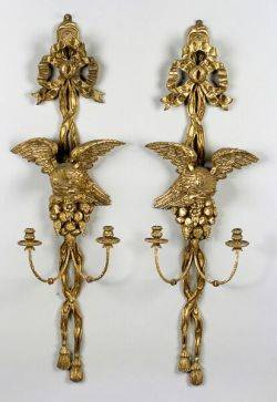 Pair of Louis XV Giltwood TwoLight Wall Sconces
