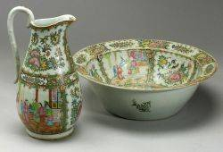 Rose Medallion Pitcher and Wash Basin