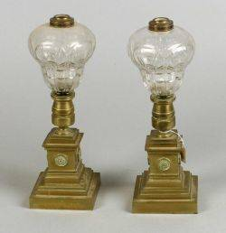 Pair of Classical Revival Colorless Glass and Bronze Oil Lamps