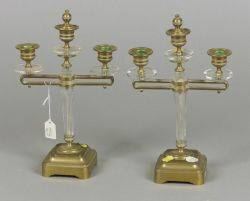 Pair of Directoirestyle Bronze and Colorless Glass ThreeLight Candelabra