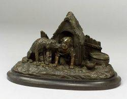 Bronze Figural Inkwell of a Child and a Dog