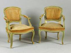 Pair of Louis XV Style Carved and Yellow Painted Beechwood Fauteuil en Cabriolet