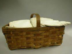 Splint Basket of Handwoven Linen Sheets