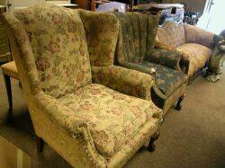 Decker Furniture Chippendalestyle Upholstered Carved Maple Wing Chair and Armchair