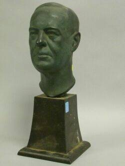 Patinated Bronze Bust of JH Parker on Wooden Base