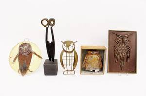 Five Folk Art Owls