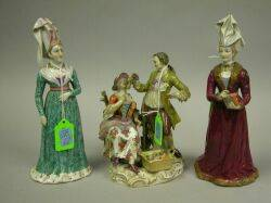 Meissen Porcelain Figural Group and Two European Porcelain Figures of a Maiden