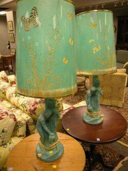 Pair of Van Briggle Pottery Turquoise Glazed Rebecca at the Well Figural Table Lamps