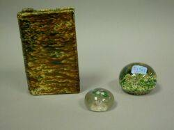 New England Glass Floral Paperweight Another Paperweight and a Bennington Glazed Book Flask Departed Spirits