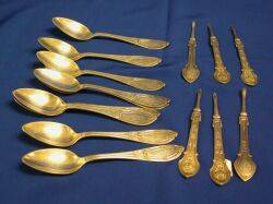 Set of Six Sterling Silver Nut Picks and Nine Teaspoons