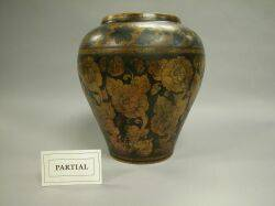 Penwork Decorated Pottery Vase Luster Porcelain Wallpocket Japanese Porcelain Vase and a Rockingham Glaze Pitcher