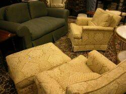 Pair of Gold Floral Brocade Upholstered Easy Chairs and Ottoman with an Upholstered Loveseat