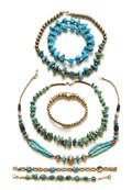 Group of turquoise and silver beaded jewelry