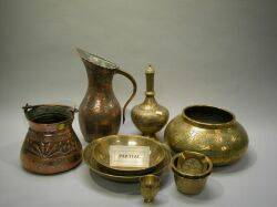 Large Lot of Asian Brass and Copper Tableware