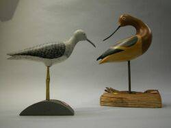 Two Carved and Painted Wood Shore Birds