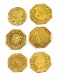 Six California gold tokens 1881