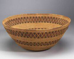 Large California Polychrome Coiled Basketry Bowl