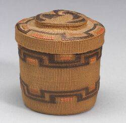 Northwest Coast Twined Polychrome Rattletop Basket