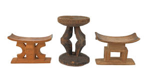 Three carved African wooden seats
