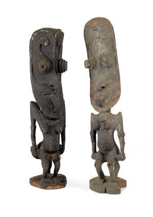 Three African carved and painted wood figures