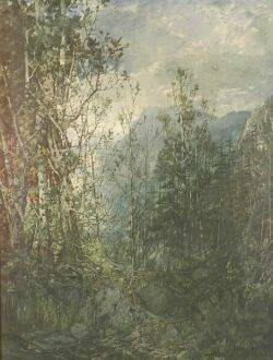 William Louis Sonntag Jr American 18691898 Mountain Landscape with Birch Trees
