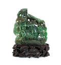Chinese carved spinach jade pumpkin