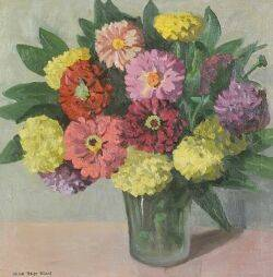 Jane Peterson American 18761968 Still Life with Zinnias and Marigolds