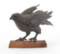 Japanese bronze figure of a hawk