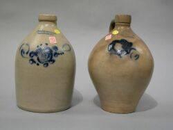 Ozark  Fox Cobalt Decorated Ovoid Stoneware Jug and a JA  CW Underwood Cobalt Decorated Stoneware Jug