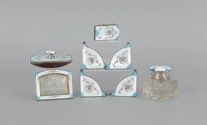 Sterling silver and champleve desk set by Foster  Bailey