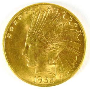 US 1932 P 10 gold Indian Head coin