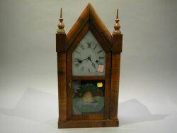 New Haven Rosewood Veneer Steeple Mantel Clock