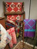 Three Wooden Folding Quilt Racks