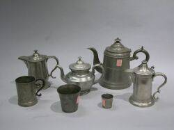 American Pewter Teapot Two Beakers Two Syrups Childs Teapot and Mug