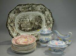 Nineteen Pieces of Transfer Decorated Staffordshire