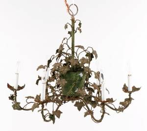 French Tole Peinte  Iron Six Light Chandelier