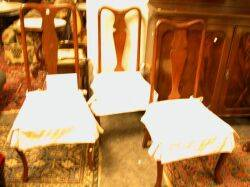 Assembled Set of Eight Queen Anne Style Mahogany Dining Chairs