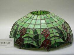 Currier and Ives Transfer Decorated SixPanel Bent Glass Lamp Shade and a Floral Leaded Glass Lamp Shade