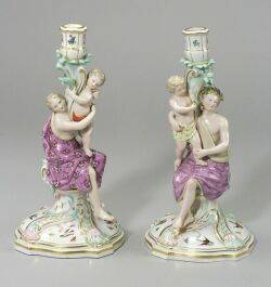 Pair Meissen Porcelain Figural Candlesticks