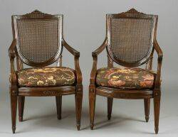 Pair of Italian Neoclassical Fruitwood Armchairs