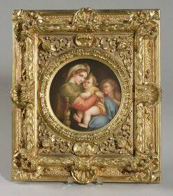 Berlin Painted Porcelain Plaque after Raphaels Madonna of the Chair