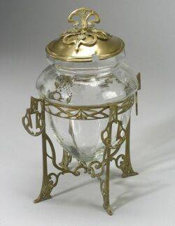 German Art Nouveau Etched Glass and Giltmetal Sweetmeat Jar