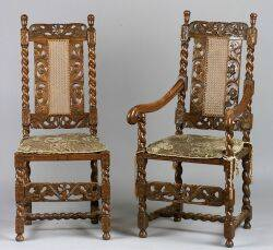 Set of Eight William and Mary Style Caned Walnut Dining Chairs