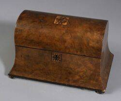 Burlwood Veneered and Inlaid Tea Caddy