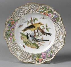 Nine Reticulated and Handpainted Dresden Porcelain Plates