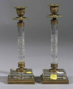 Set of Four French Cut Glass Ormolu Mounted Candlesticks