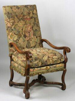 Continental Baroque Tapestry Upholstered Open Armchair