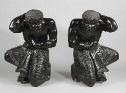 Pair of Black Painted Wood Blackamoor Hall Figures